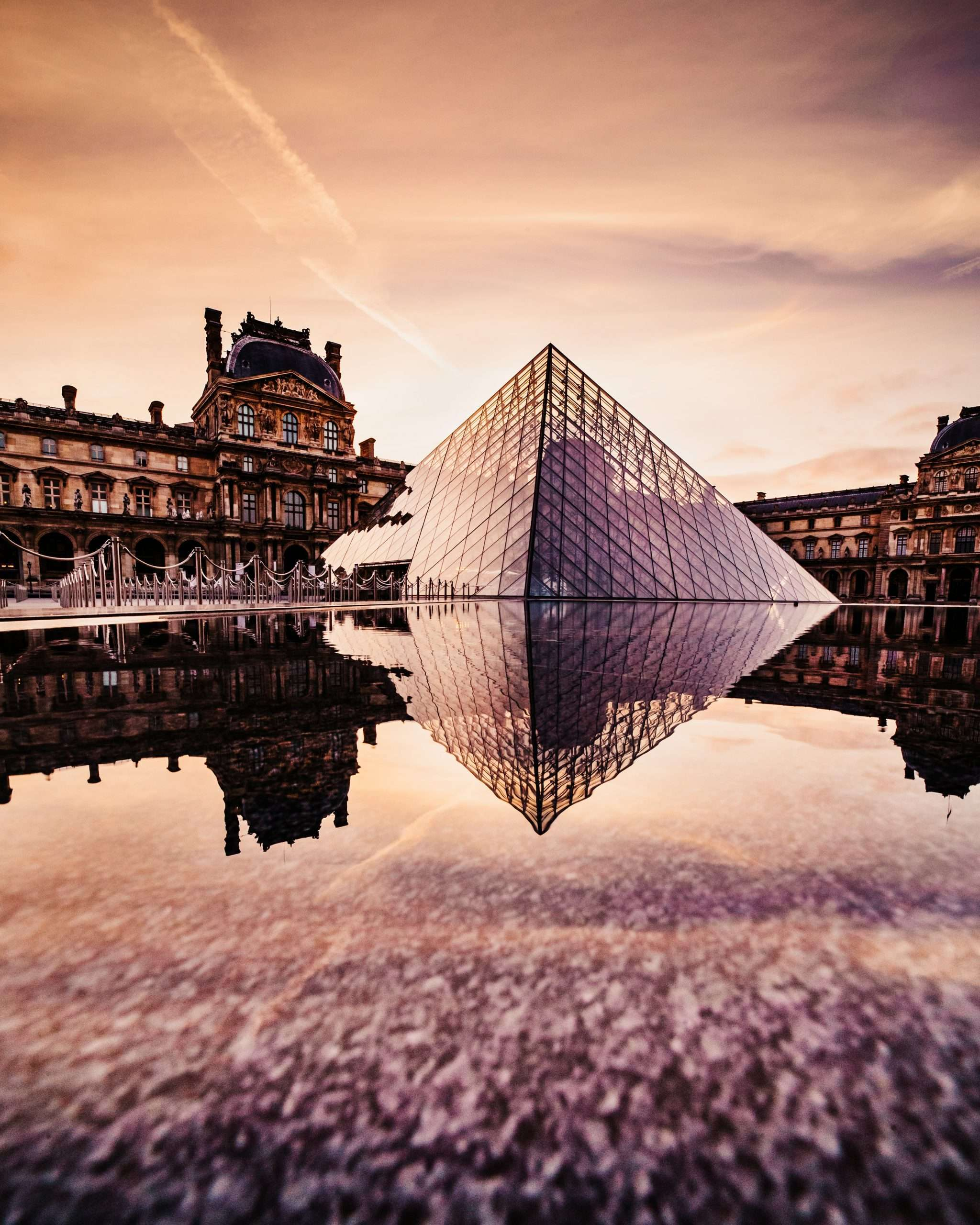 Exterior image of The Louvre museum in Paris, France.